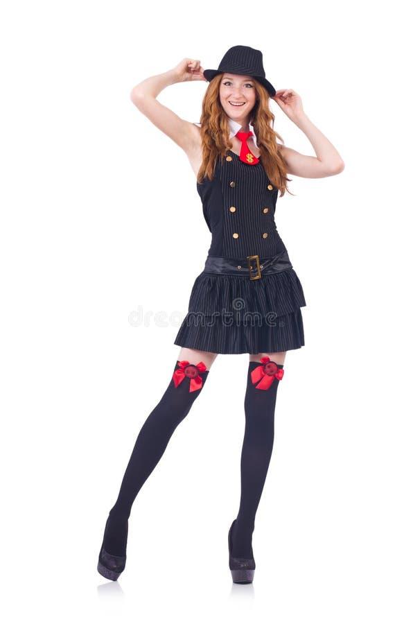 Kobieta ubierająca jako gangster odizolowywający obrazy stock