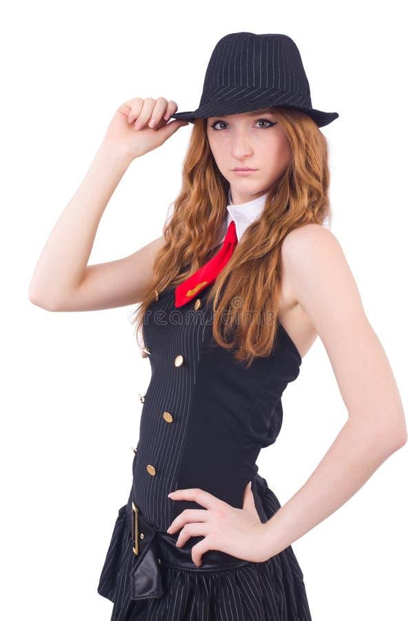 Kobieta ubierająca jako gangster odizolowywający zdjęcia stock