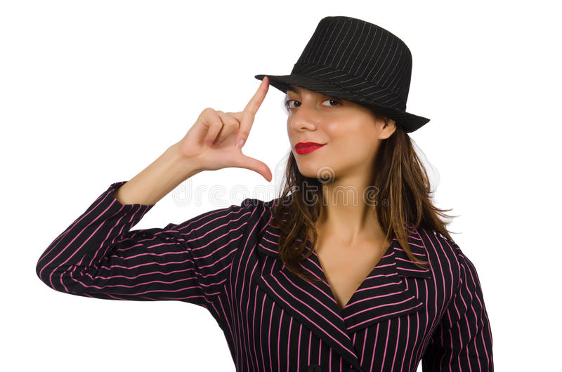 Kobieta ubierająca jako gangster odizolowywający zdjęcie royalty free
