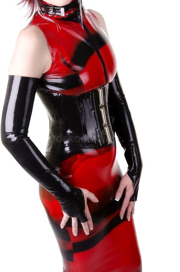 Kobieta ubierająca w dominatrix odziewa zdjęcie royalty free