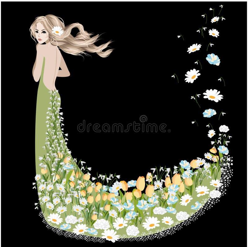Kobieta ubierająca w wiosna kwiatach ilustracji