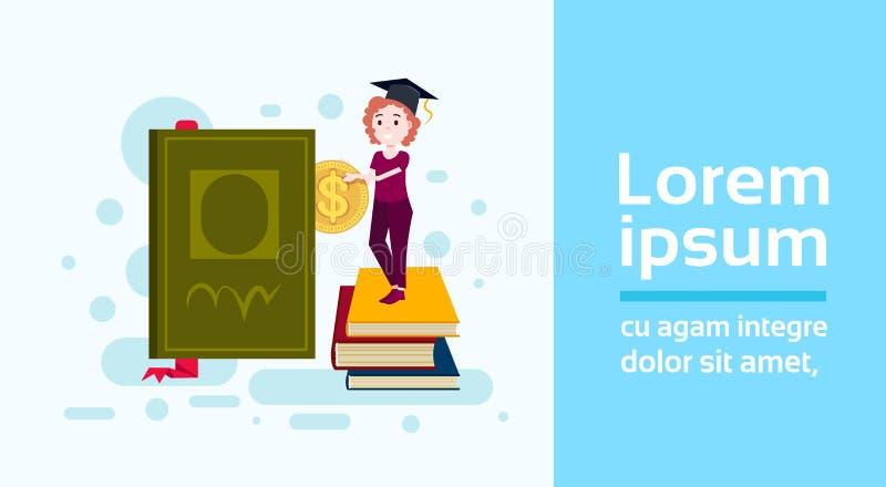 Kobieta ucznia filiżanki pozyci sterta książkowy chwyta dolara monety nauki charakter na białym tle folował długości mieszkania k ilustracja wektor