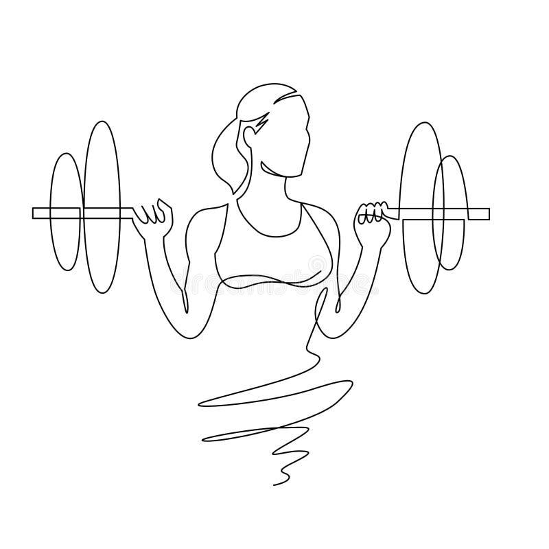 Kobieta ud?wig obci??a ci?g?ego jeden kreskowego rysunek ?e?skiego bodybuilder wektorowa r?ka rysuj?ca ilustracja wektor