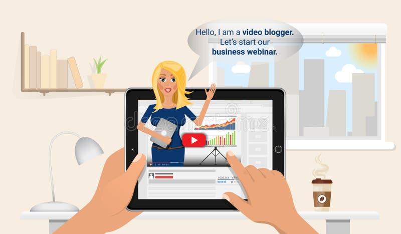 Kobieta utrzymuje vlog w pastylka komputerze osobistym Online edukaci i finanse szkolenie Biznesowy blogger robi bezpłatny webina royalty ilustracja
