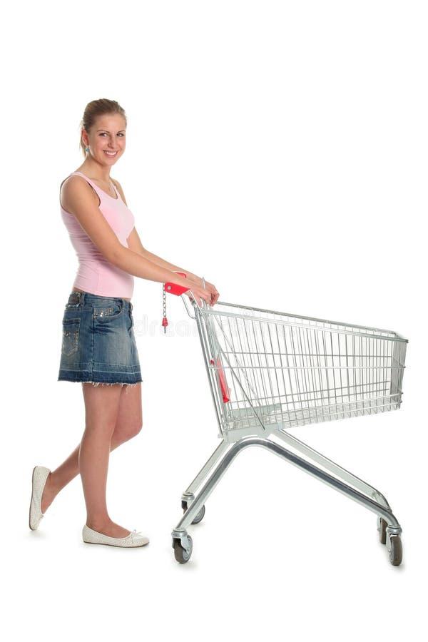 Kobieta Wózek Na Zakupy Obrazy Stock