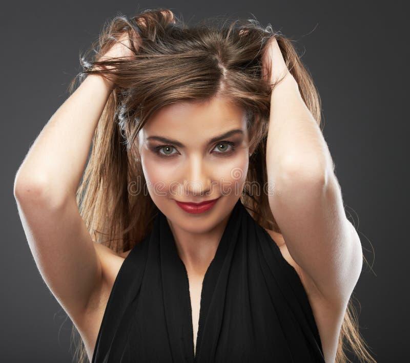 Kobieta włosy, twarzy piękna zamknięty up portret obrazy royalty free