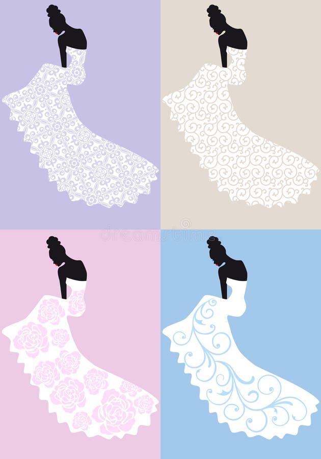 Kobieta w ślubnej sukni, wektor royalty ilustracja