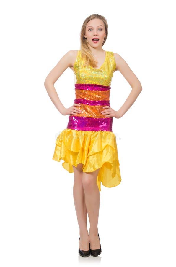 Kobieta w śmiesznej iskrzastej kolor żółty sukni fotografia royalty free