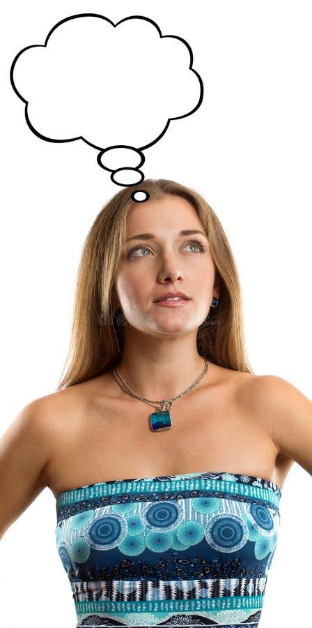 Kobieta w błękit sukni z myśl bąblem obrazy royalty free
