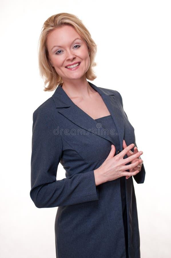 Kobieta w błękitnym garniturze zdjęcia royalty free