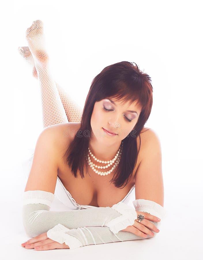 kobieta w biały bieliźnie fotografia stock