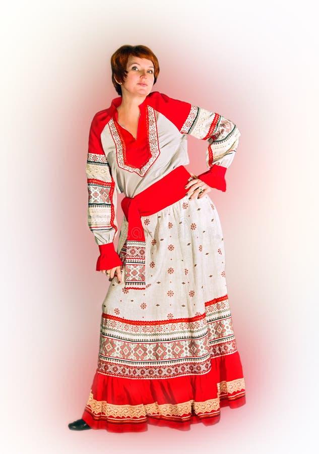 Kobieta w bieliźnianym kostiumu, ludu styl fotografia stock