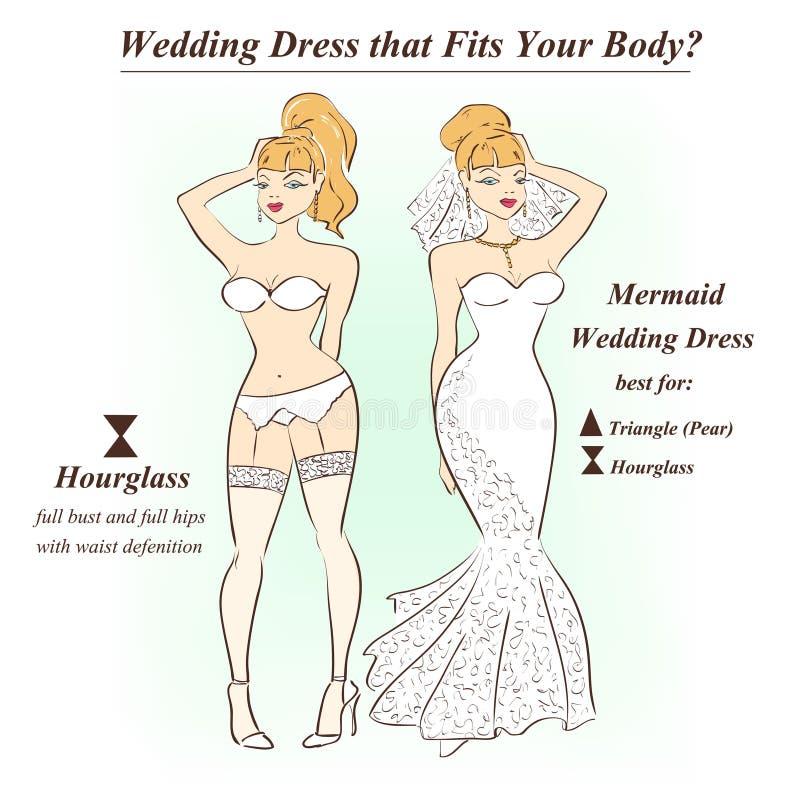 Kobieta w bieliźnie i syrenki ślubnej sukni ilustracji