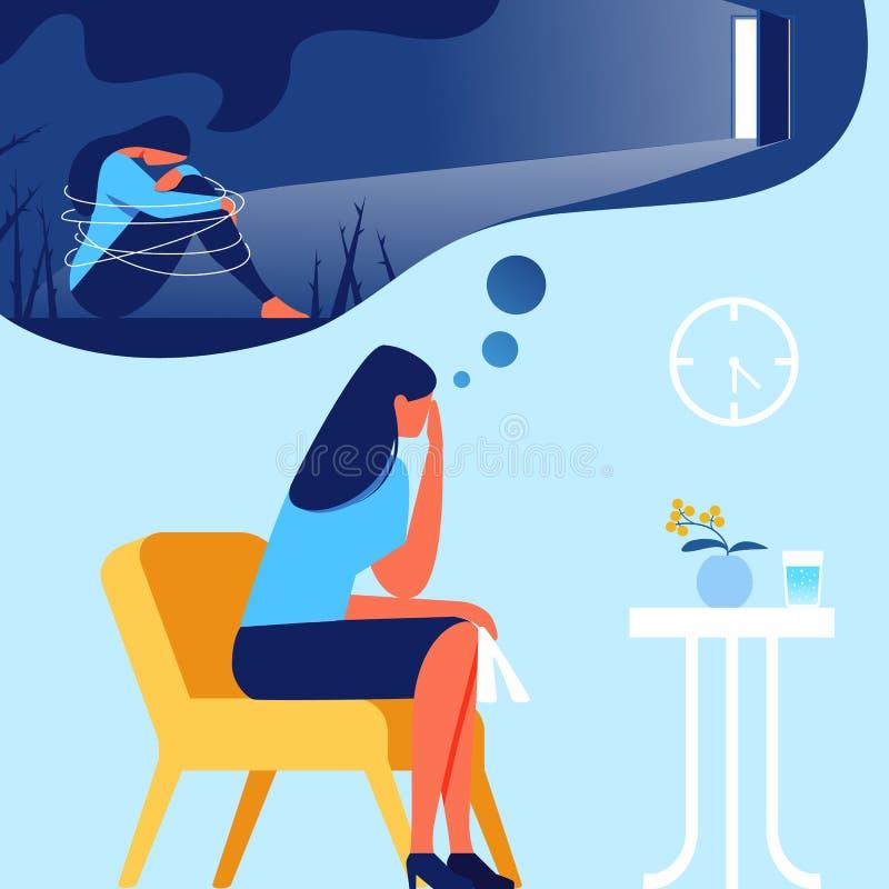 Kobieta w Biurowym psychologu Z depresji ilustracji