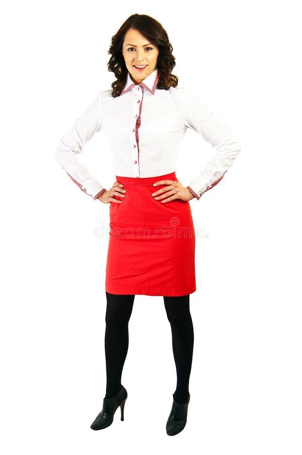 Download Kobieta W Biznes Stewardesie Na Białym Tle Lub Mundurze Obraz Stock - Obraz złożonej z szczęśliwy, odosobniony: 28950471