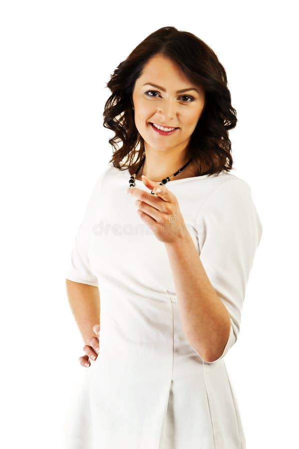 Download Kobieta W Biznesu Jednolity Wskazywać Przy Tobą Zdjęcie Stock - Obraz złożonej z palec, brunetka: 28950456