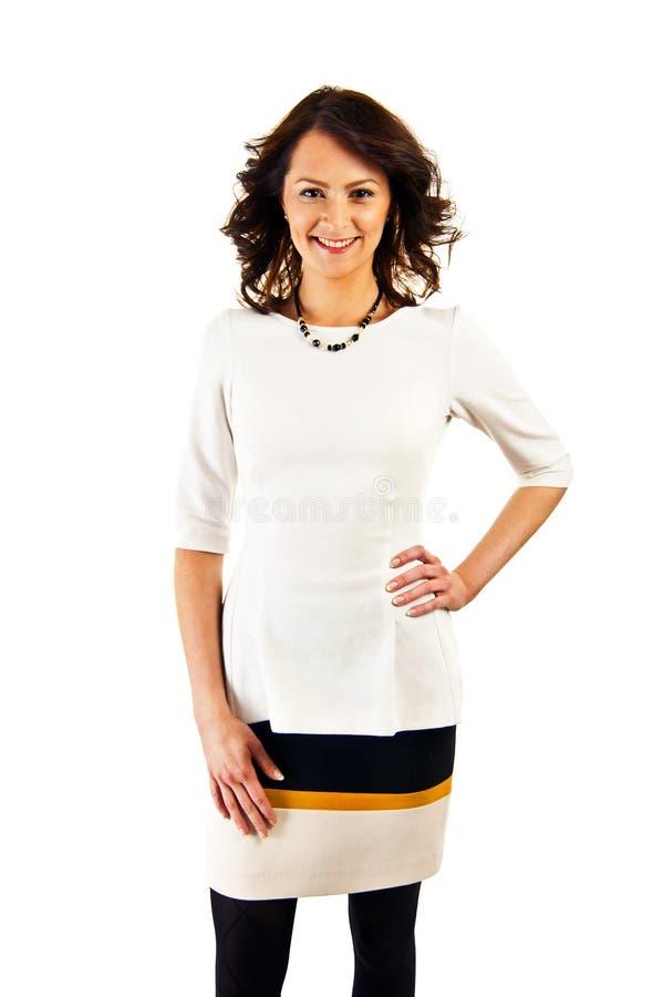 Kobieta w biznesu mundurze na białym tle z dużym uśmiechem fotografia royalty free