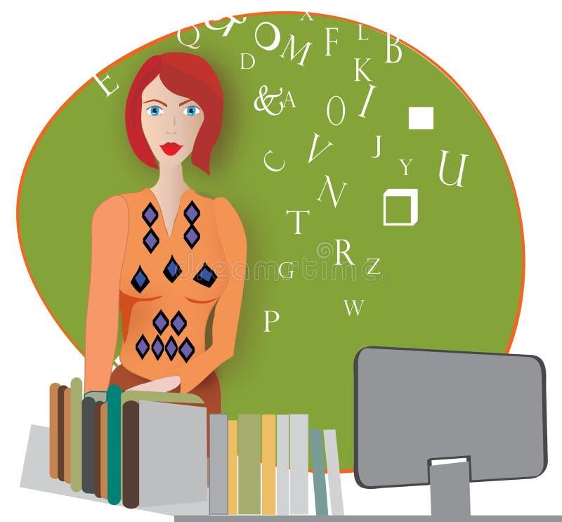 Kobieta w booksstore royalty ilustracja