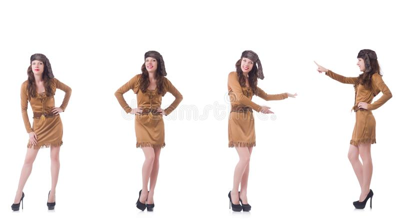 Kobieta w br?z sukni odizolowywaj?cej na bielu zdjęcia stock