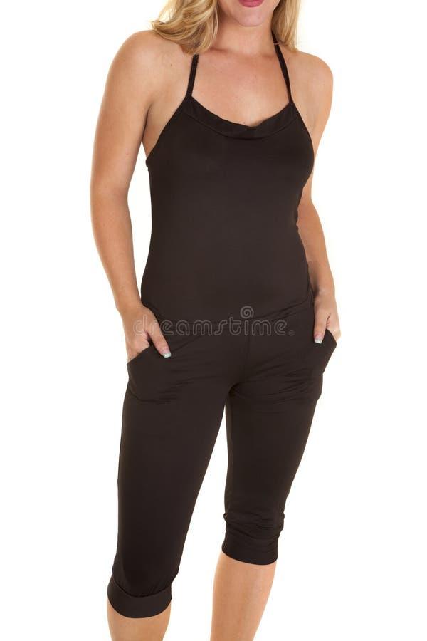 Kobieta w capris czerni fotografia royalty free