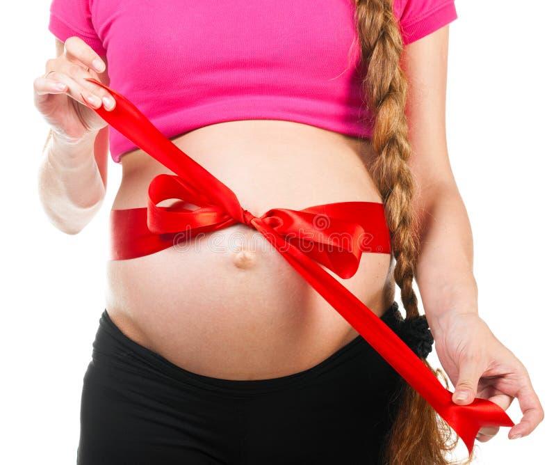 Kobieta w ciąży biały żołądka łęk 0121 .jpg (62) obrazy stock