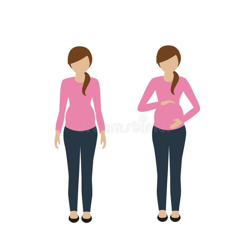 Kobieta w ciąży charakter w przypadkowym spojrzeniu ilustracja wektor
