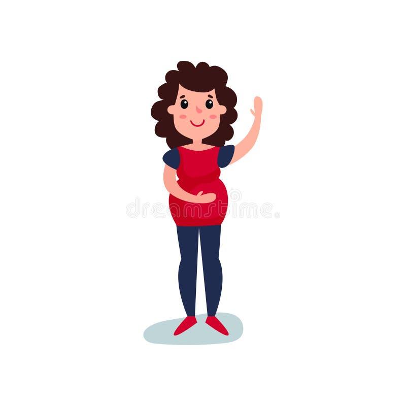 Kobieta w ciąży charakteru falowanie i pozycja jej ręka, inna ręka na jej brzuchu Żeński oczekuje dziecko Przyszłościowa mama z royalty ilustracja