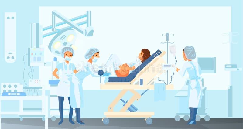 Kobieta w ciąży daje narodziny w szpitalu royalty ilustracja