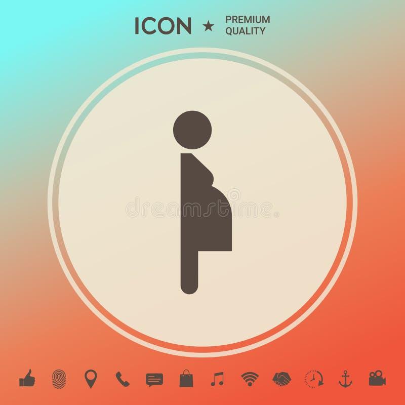 Kobieta w ciąży ikona ilustracji