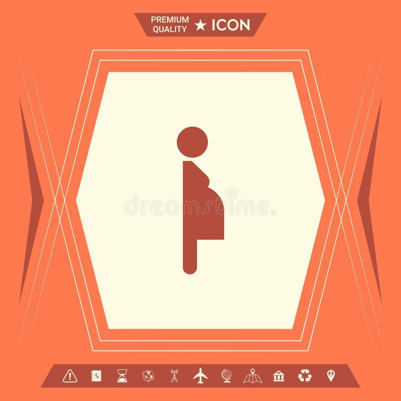 Kobieta w ciąży ikona ilustracja wektor