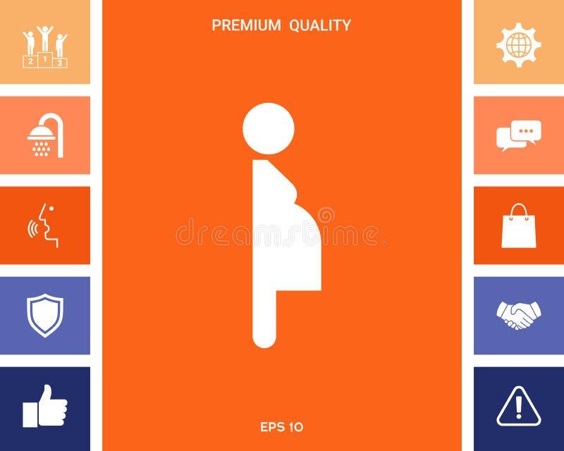 Kobieta w ciąży ikona royalty ilustracja