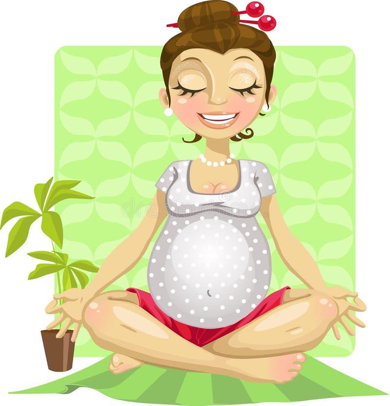 kobieta w ciąży joga ilustracji
