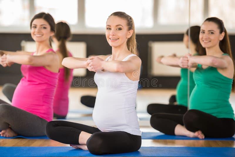 Kobieta w ciąży przy gym fotografia royalty free