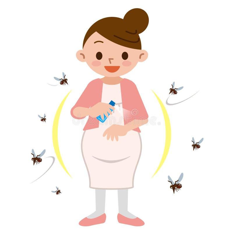 Kobieta w ciąży rozpylać insekta repellent royalty ilustracja