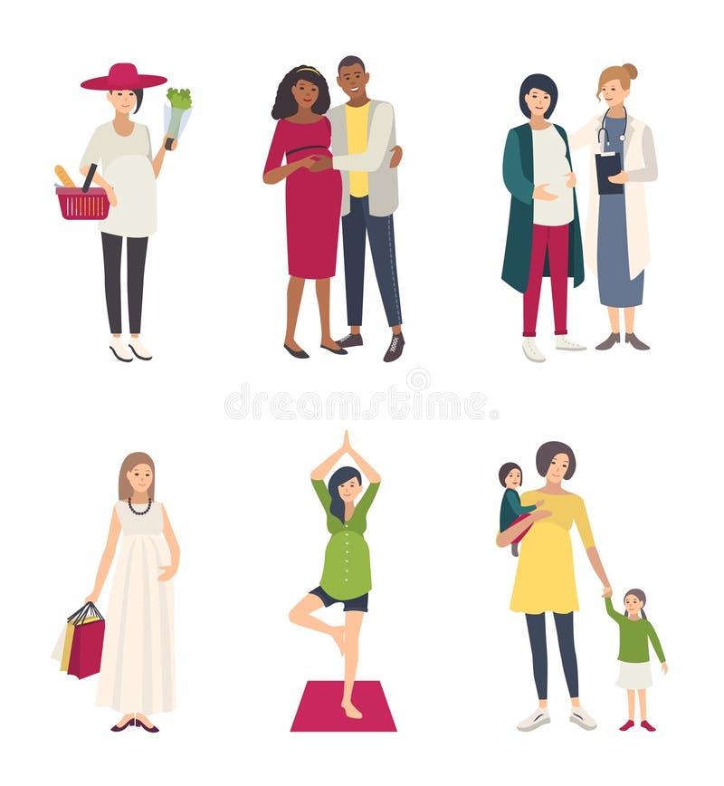 Kobieta w ciąży s set Różne sytuacje z mężem, zakupy, joga, z dziećmi, przy lekarką Inkasowy mieszkanie ilustracji