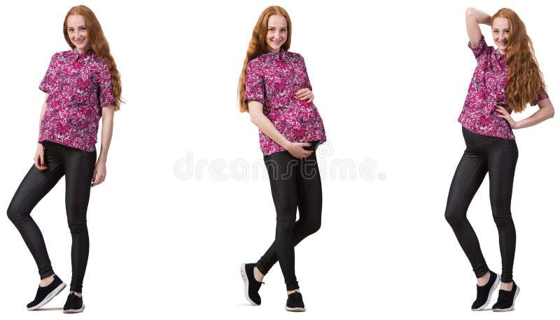 Kobieta w ciąży w złożonym wizerunku na bielu obrazy stock