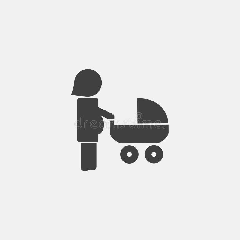 kobieta w ciąży z dziecko fury ikoną ilustracji
