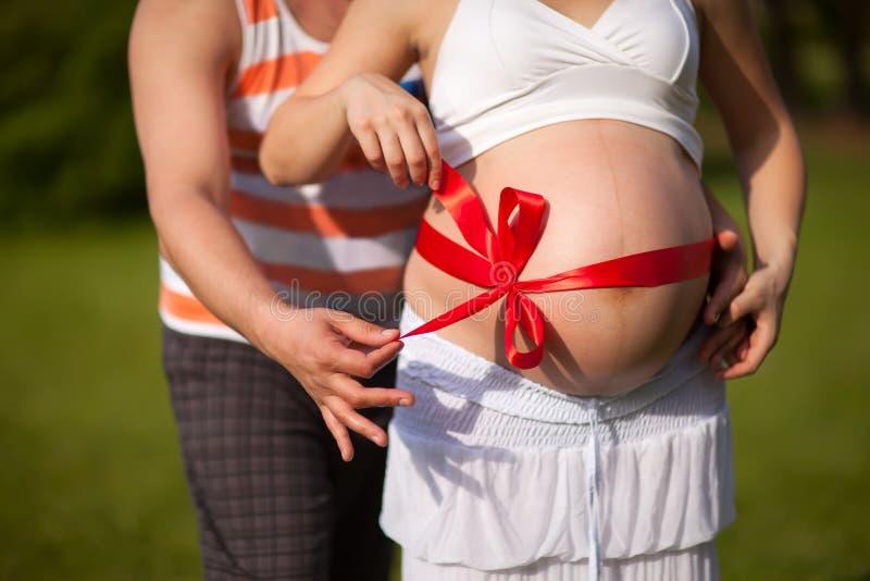 Kobieta w ciąży z jej kochającym mężem behind obraz stock