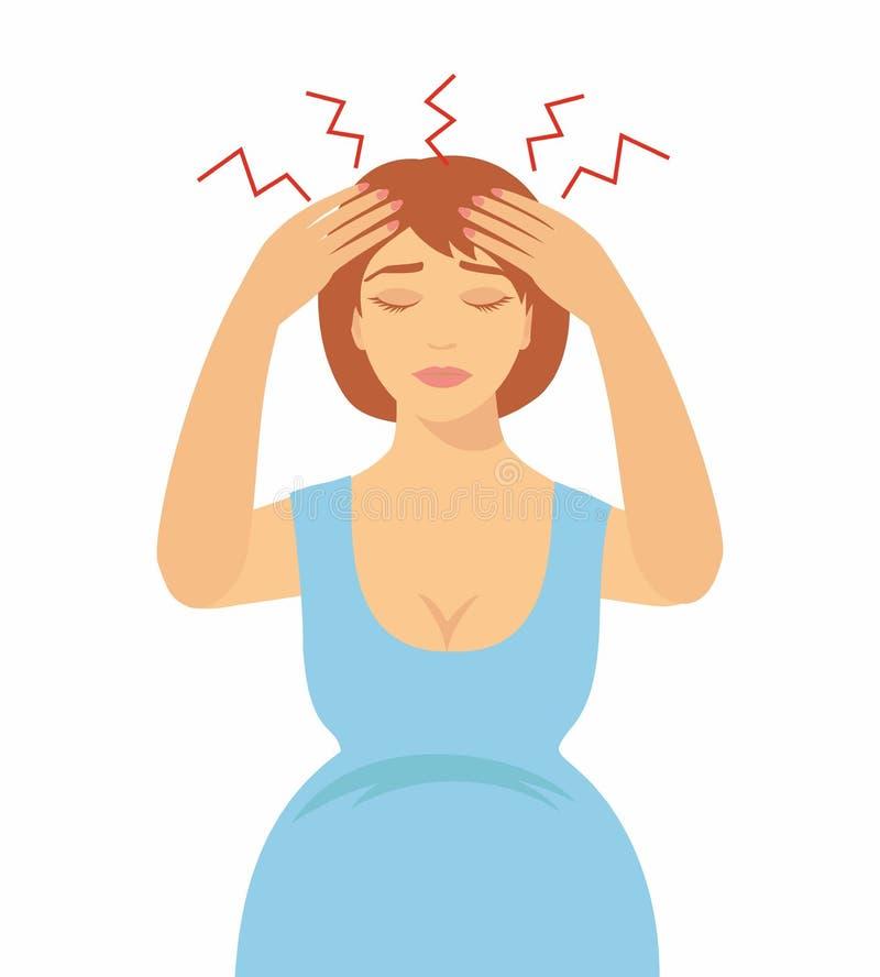 kobieta w ciąży z migreną royalty ilustracja