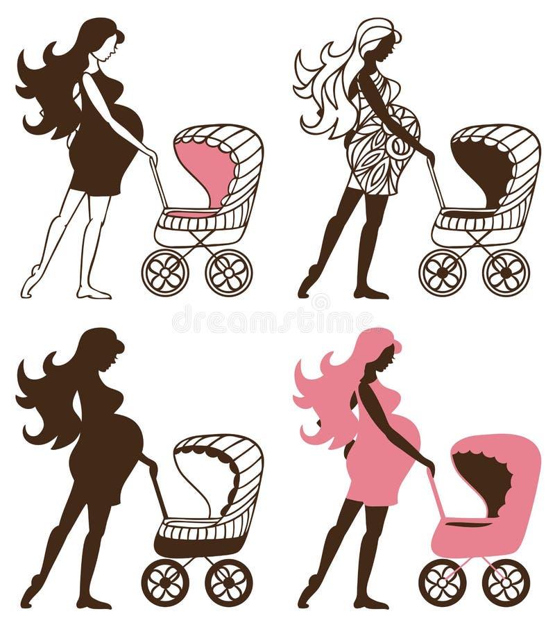 Kobieta w ciąży z spacerowiczami ilustracja wektor