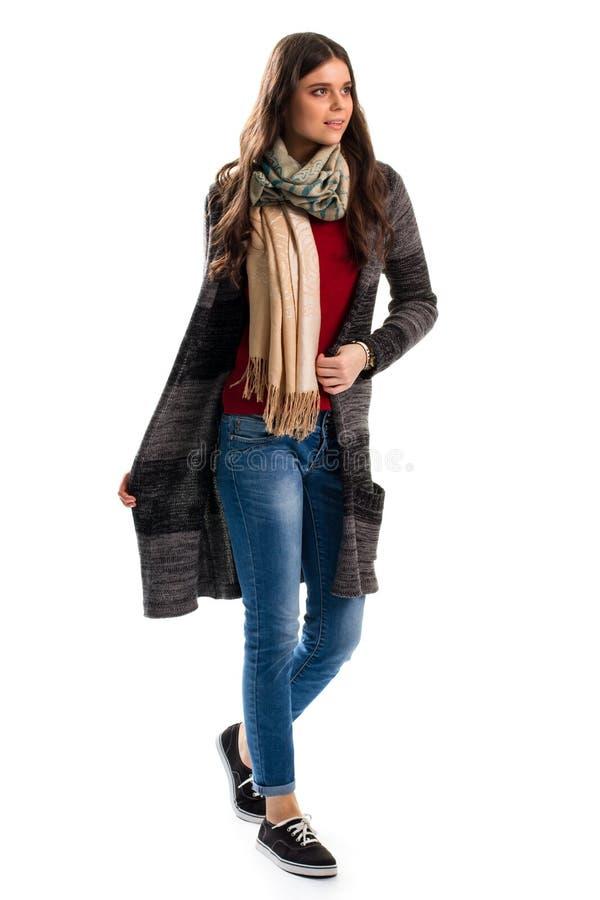 Kobieta w ciemnym puloweru żakiecie obrazy stock