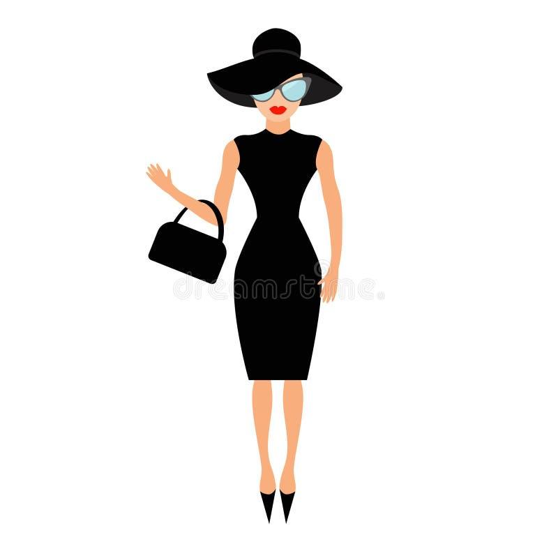 Kobieta w czarny elegancki kapeluszu, torby i okularów przeciwsłonecznych machać, Bogata i piękna osobistości dziewczyna Piękno m ilustracji
