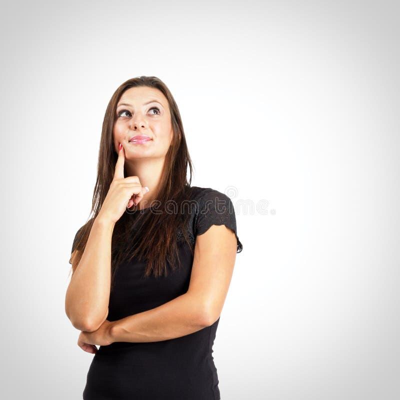 Kobieta w czarnym koszulowym myślącym portrecie obrazy royalty free