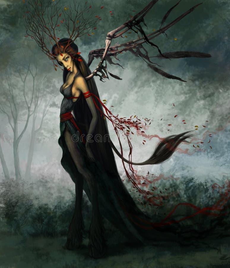Kobieta w czerni i czerwieni ilustracji