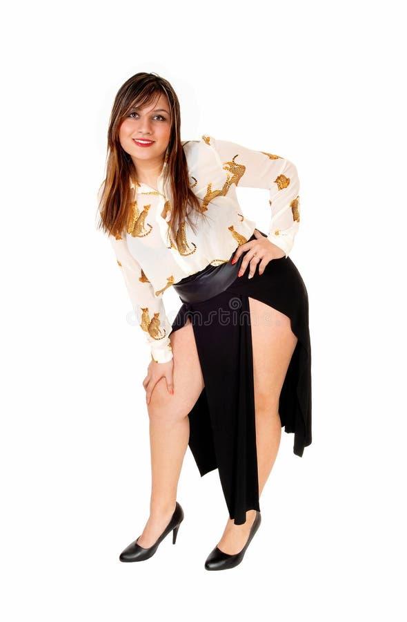 Kobieta w czerni spódnicie fotografia stock