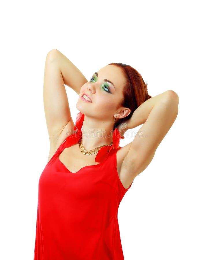 Kobieta w czerwieni ostrej sukni zdjęcie royalty free