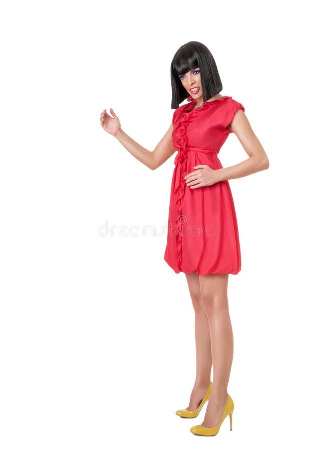 Kobieta w czerwonej mini sukni obraz stock