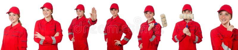 Kobieta w czerwonych kombinezonach na bielu zdjęcie royalty free