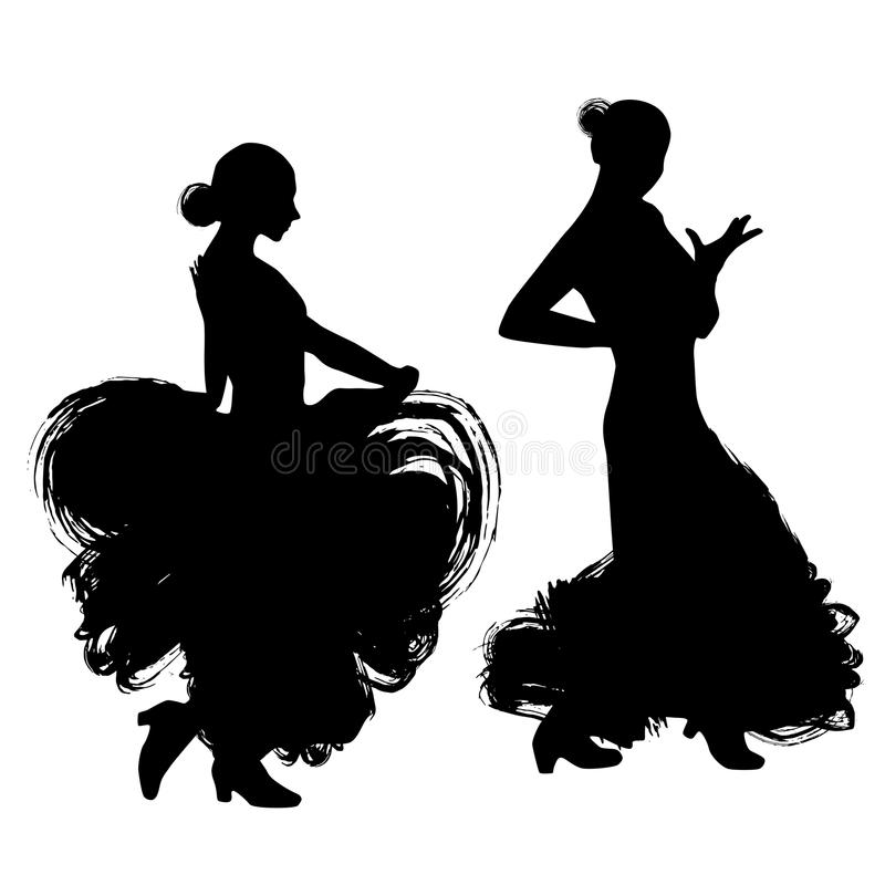 Kobieta w długim suknia pobycie w taniec pozie flamenco tancerz, hiszpański czarna sylwetka Odizolowywająca na białym tła muśnięc ilustracja wektor