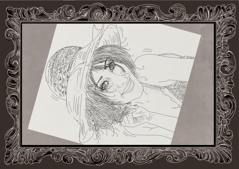 Kobieta w erotycznej pozie, dziewczyna, szpilka z w górę ramy ilustracja wektor
